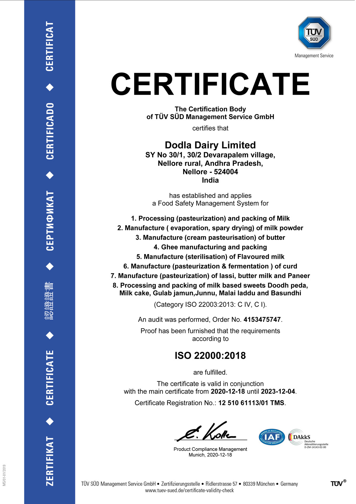 Quality And Certification - Dodla Diary